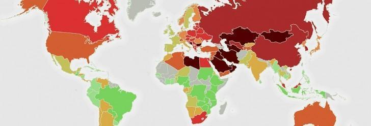 Карта мира загрязнения