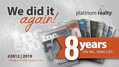 Platinum Realty makes the Inc. 5000 list for the 8th year
