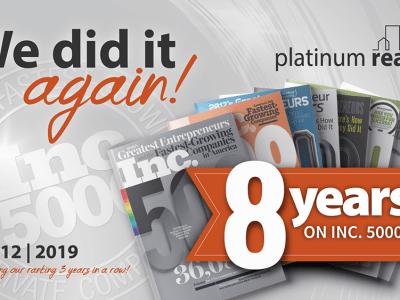 8 years on Inc 5000 list