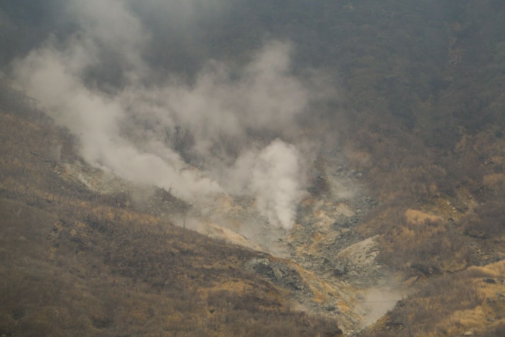 Aerial view of Owakudani with sulfur steam