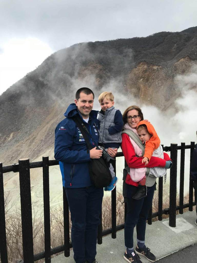 Family picture at Owakudani with steam vents
