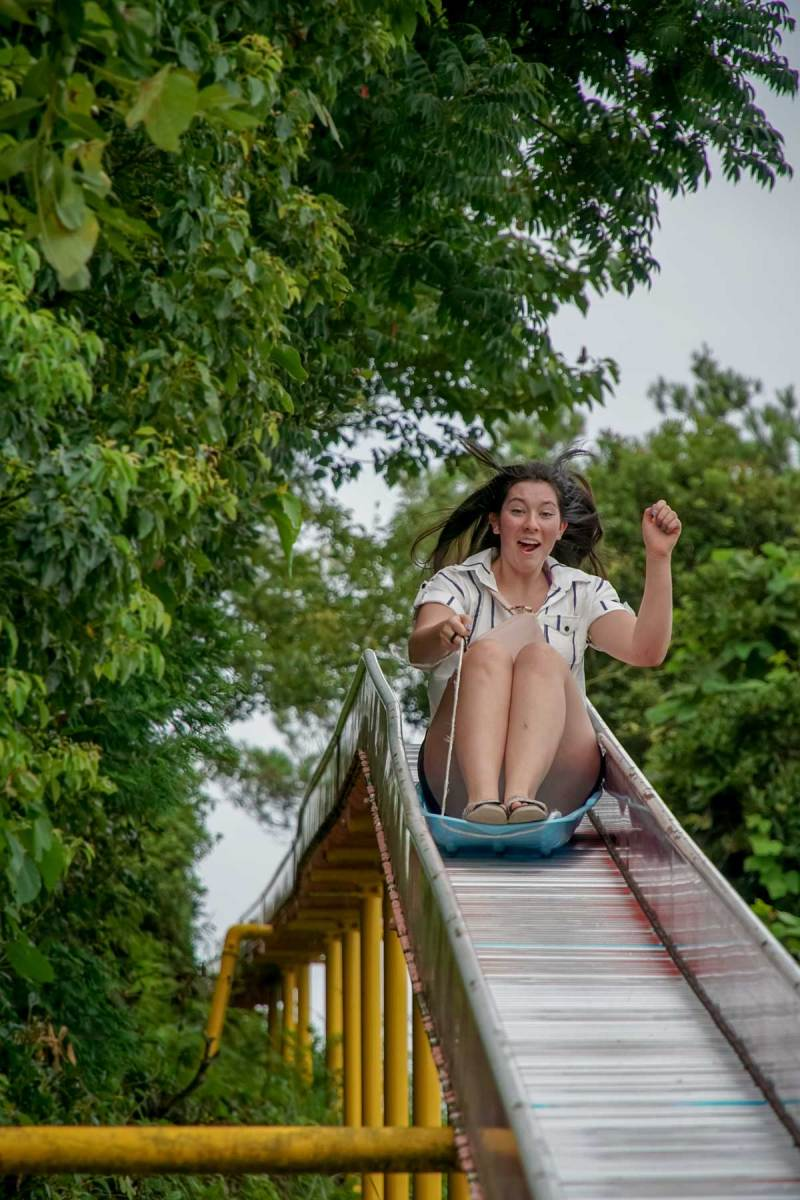 Hachigamine girl on slide