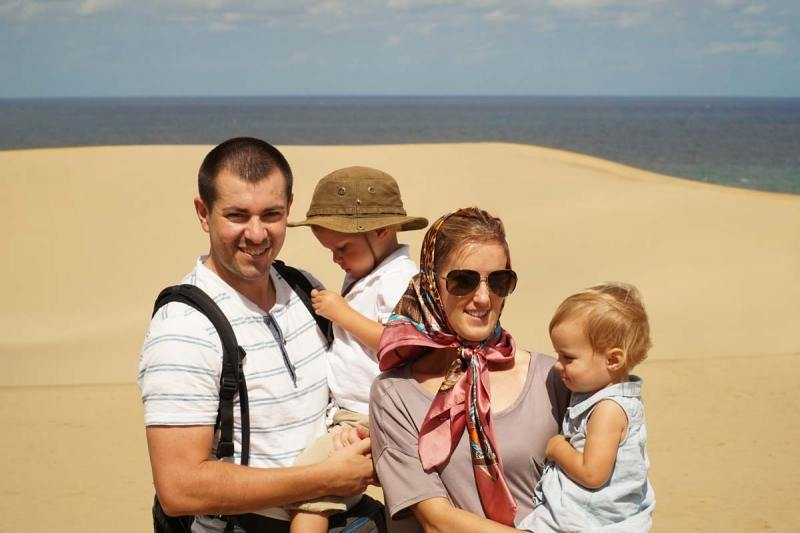 Family at Tottori Sand Dunes