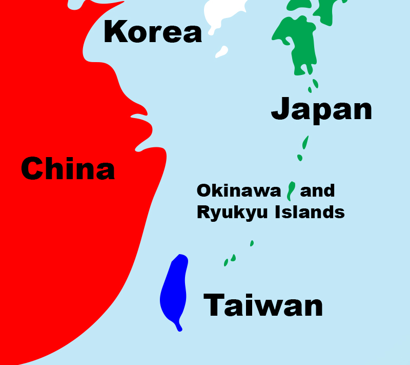 Map of Okinawa and other countries