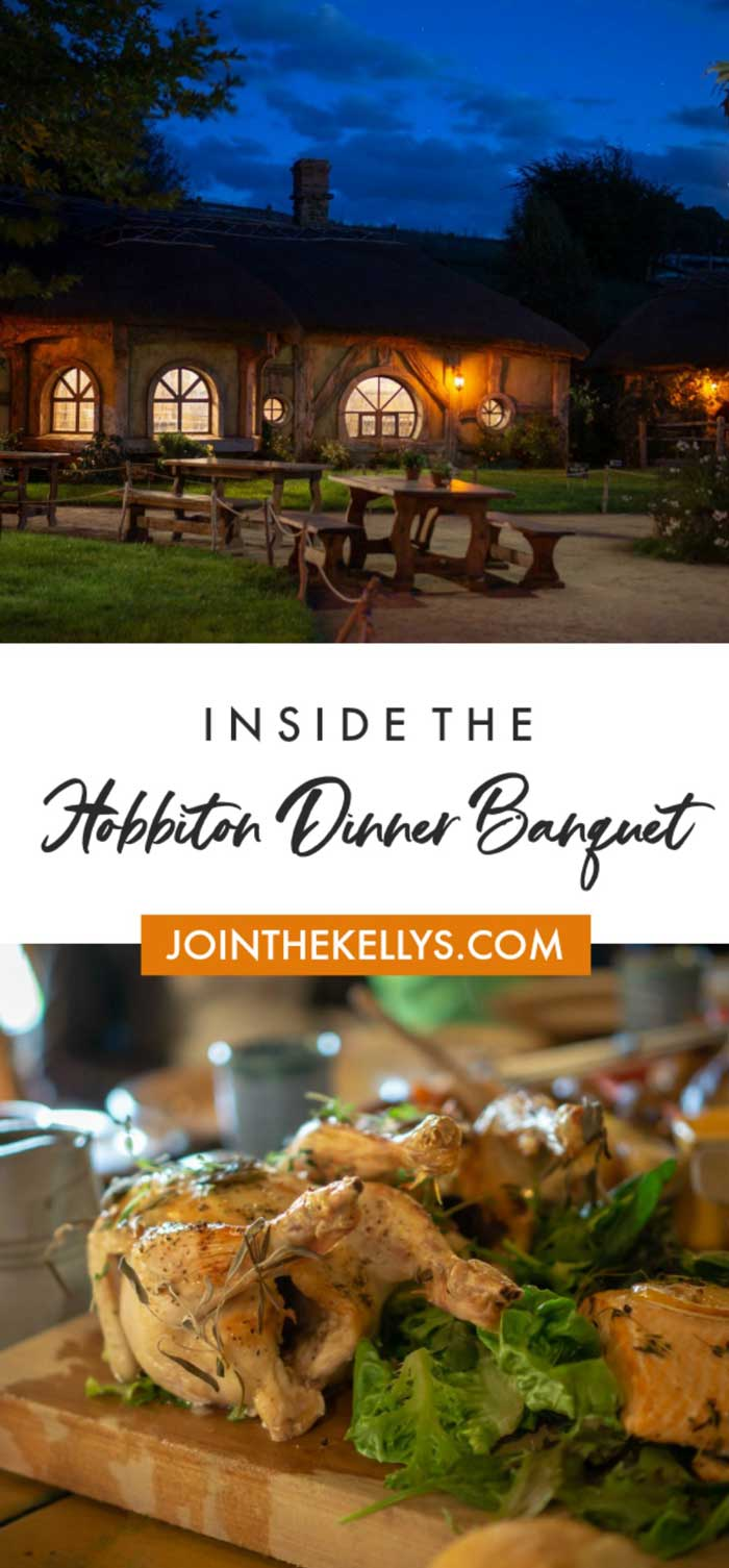 Picture of outside the Hobbiton banquet and some of the food at the banquet.
