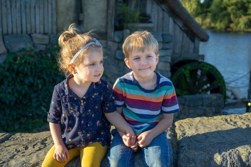 Hobbiton kids by watermill