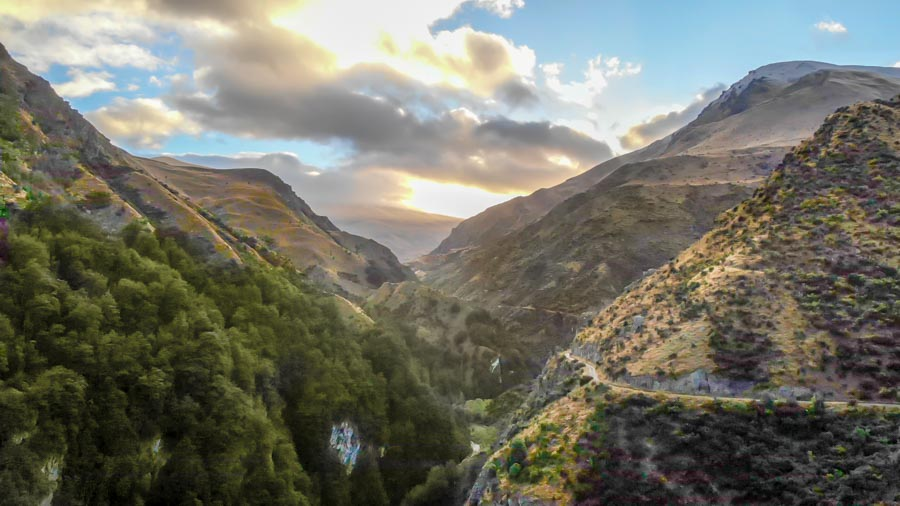 off-roading in New Zealand Nomad Safaris views from the drone to Macetown