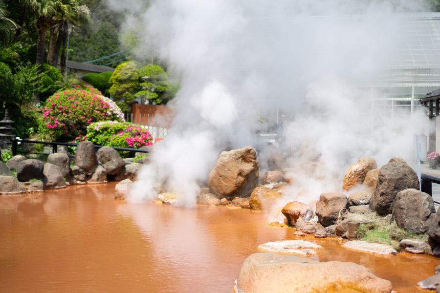 Hells of Beppu red pool with steam