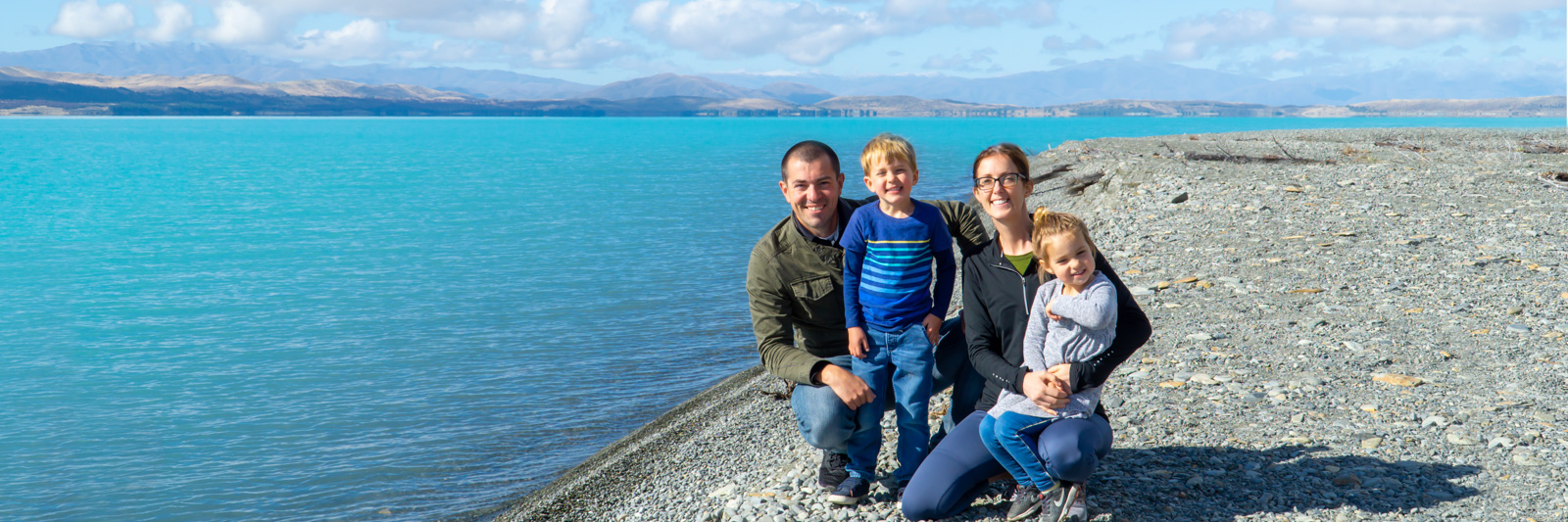 A family at Lake Pukaki