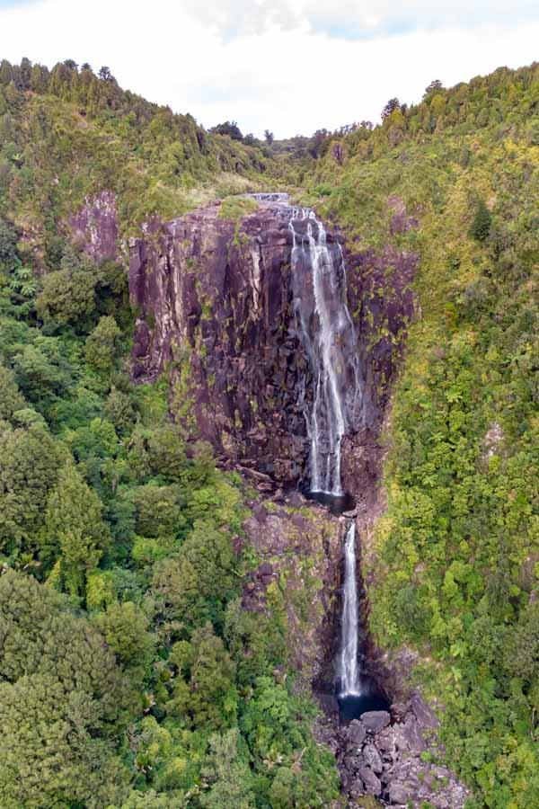 Wairere waterfall picture with drone