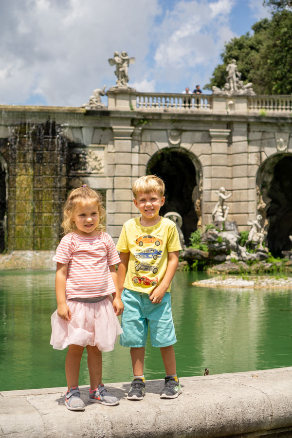 Caserta Palace kids by fountain
