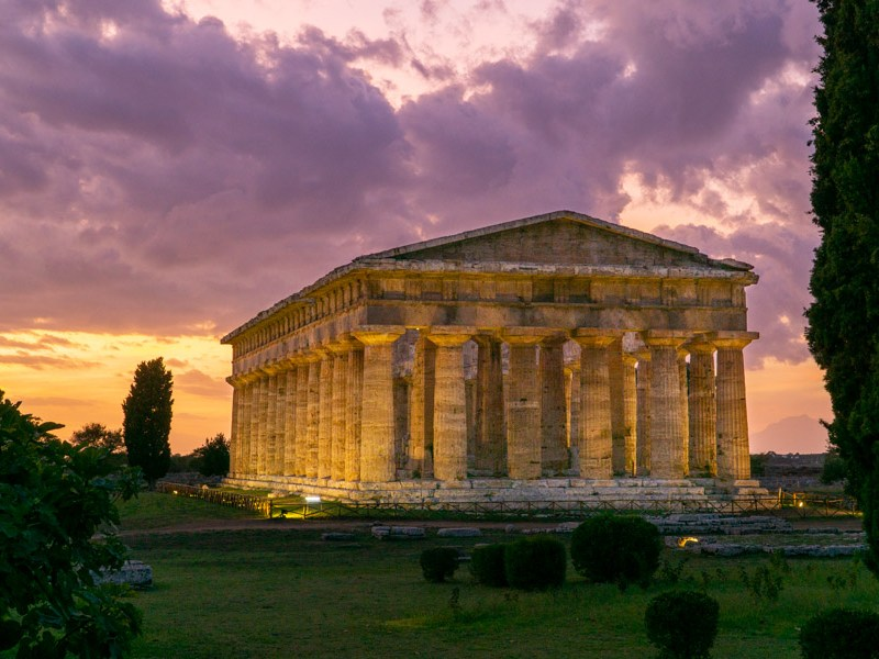 Paestum Neptune Temple at night