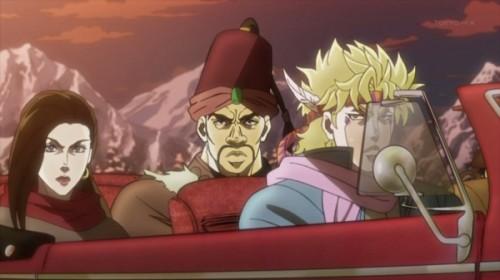 ジョジョ アニメ 第18話 車で移動中のジョジョ一行