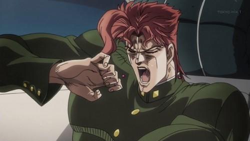 ジョジョ アニメ 第三部 第19話 悪夢に暴れる花京院