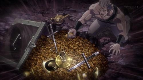 ジョジョ アニメ 第三部 第21話 財宝を見て驚くポルナレフ
