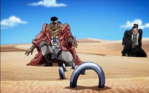 ジョジョ アニメ 第三部 第26話 腕輪を投げるアヴドゥル