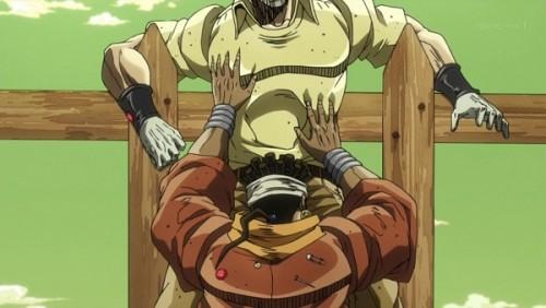 ジョジョ アニメ 第三部 第31話 ジョセフの股間に顔を埋めるアヴドゥル