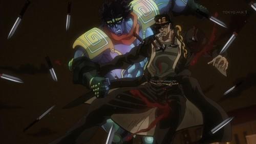 ジョジョ アニメ 第三部 第47話 ナイフが刺さる承太郎