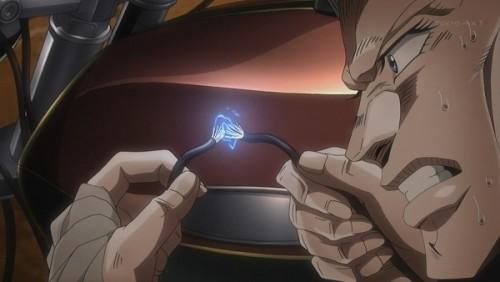 ジョジョ アニメ 第三部 第45話 エンジンをかけようとするポルナレフ