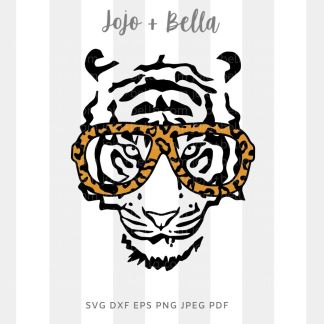 tiger glasses svg - animal cut file for Cricut and silhouette