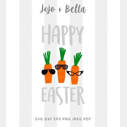 Happy Easter Carrots Svg - easter cut file for cricut and silhouette