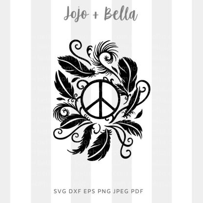 Peace feather wreath Svg - flowers/wreaths cut file for cricut and silhouette
