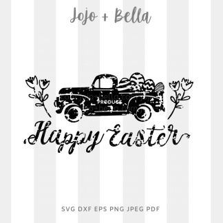 Happy Easter Grunge Truck Svg - Easter cut file for cricut and silhouette