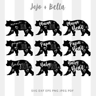 Mama papa baby bear bundle Svg - Family cut file for cricut and silhouette