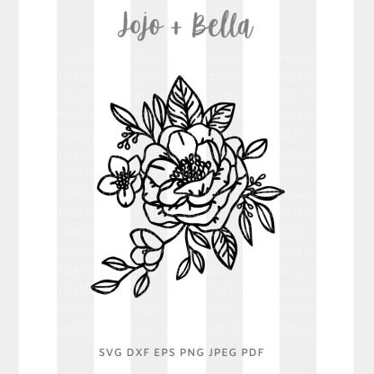 Flower drawing Svg - flowers/wreaths cut file for cricut and silhouette