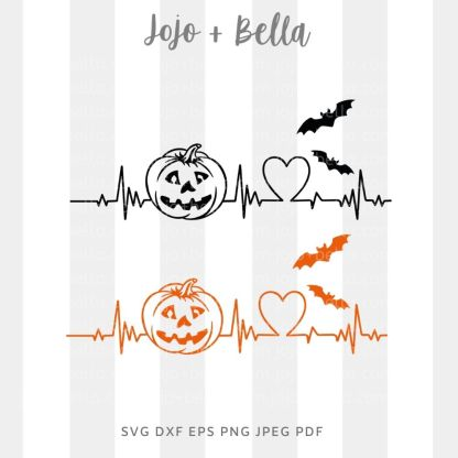 Halloween Heartbeat Svg - halloween cut file for cricut and silhouette