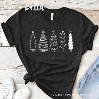 christmas tree sketches svg - merry christmas cut file for cricut and silhouette