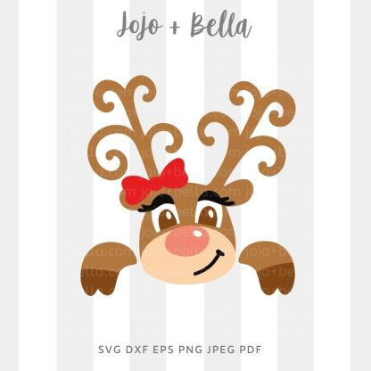 Cute reindeer girl - Christmas cut file for Cricut and Silhouette