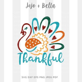 Thankful Turkey Svg - thanksgiving cut file for cricut and silhouette