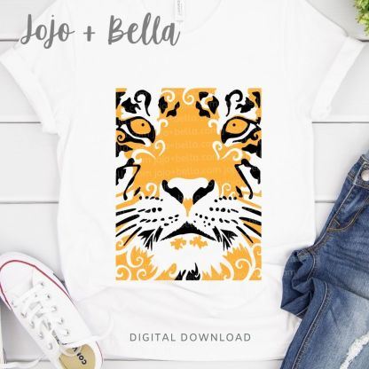 Free Layered Tiger Face Svg for Cricut and Silhouette