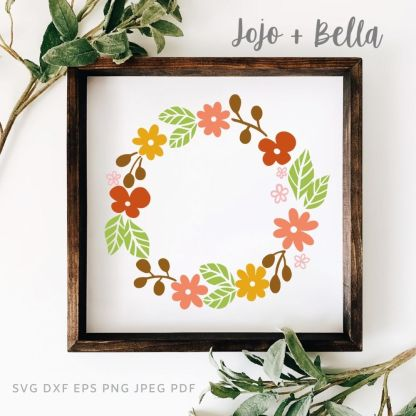 free Fall flower wreath cut file for cricut and silhouette