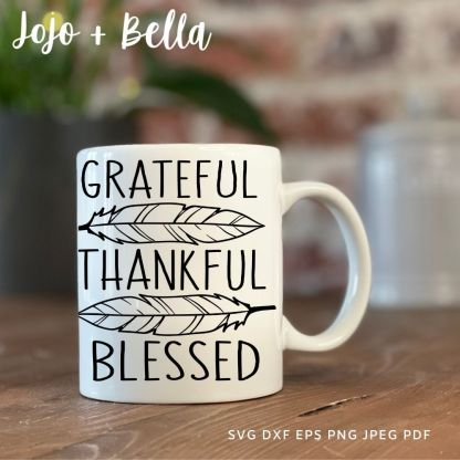 free Grateful Thankful Blessed Feathers Svg for cricut and silhouette