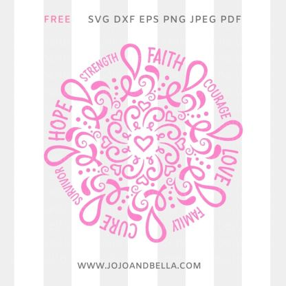 Free Breast Cancer Awareness Svg for Cricut and Silhouette DIY Craft Projects