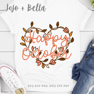 Free Happy October Svg for Cricut and Silhouette