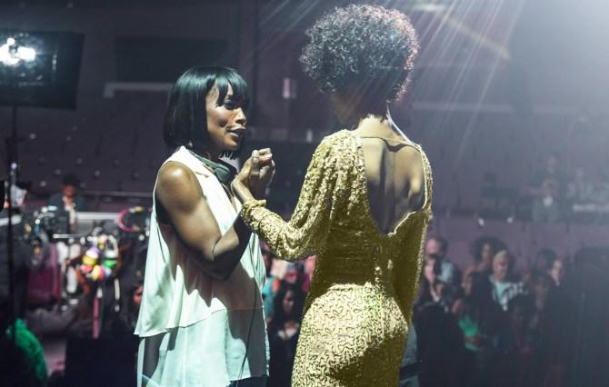 Angela on set of 'Whitney' directing Yaya DaCosta; Source: Lifetime