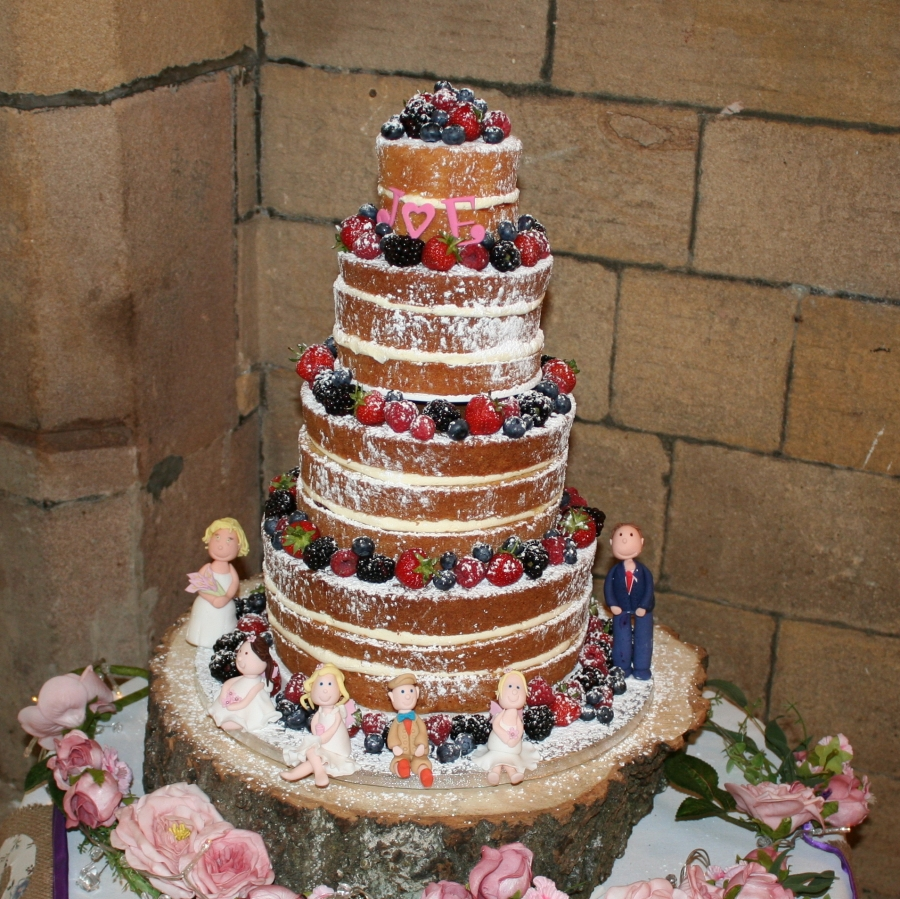 4 Tier Naked Cake With Sugar Models