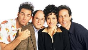 The central cast of Seinfeld pose for a cover shot