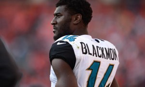 Justin Blackmon on the sidelines for the jaguars during the 2013 nfl season