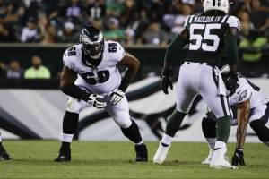 jordan mailata lines up during the 2018 eagles preseason game against the new york jets