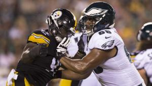 Jordan Mailata wallops a defender during a Philadelphia Eagles preseason contest against the Pittsburgh Steelers