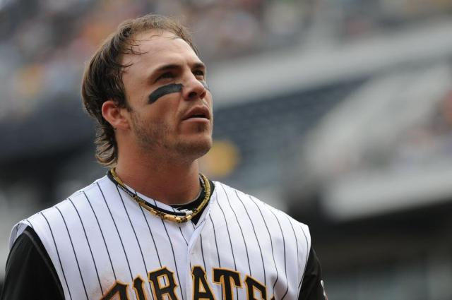 Steve Pearce looks into the crowd wearing eyeblack and his Pittsburgh Pirates uniform