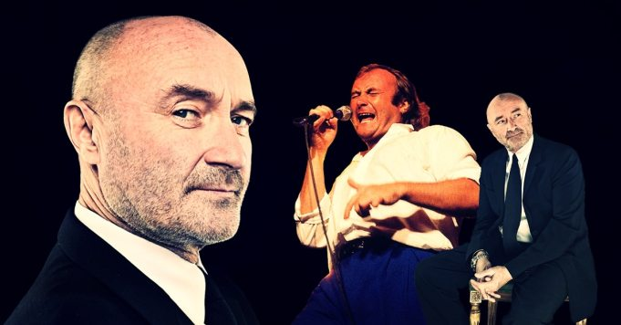 An illustration showing the evolution of Phil Collins as a singer. Collins went from unheralded drummer to an unlikely superstar singer for Genesis.
