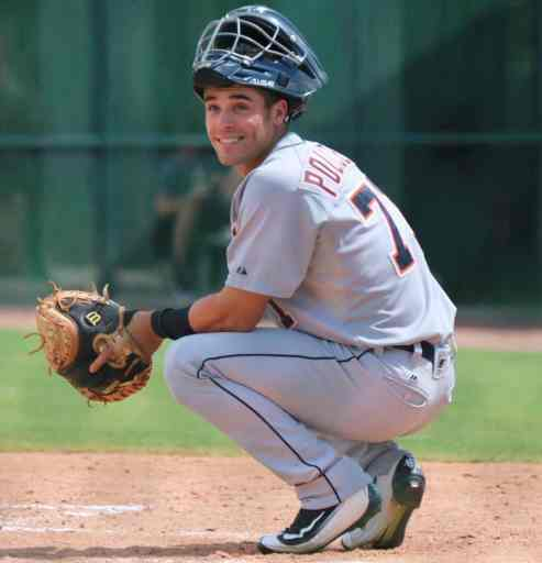 Brady Policelli working out at catcher at Detroit Tigers spring training