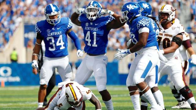 josh allen celebrates a sack of the Central Michigan QB during his 2018-2019 senior season at the University of Kentucky. Josh Allen's 2019 NFL Draft rise is nothing short of incredible.