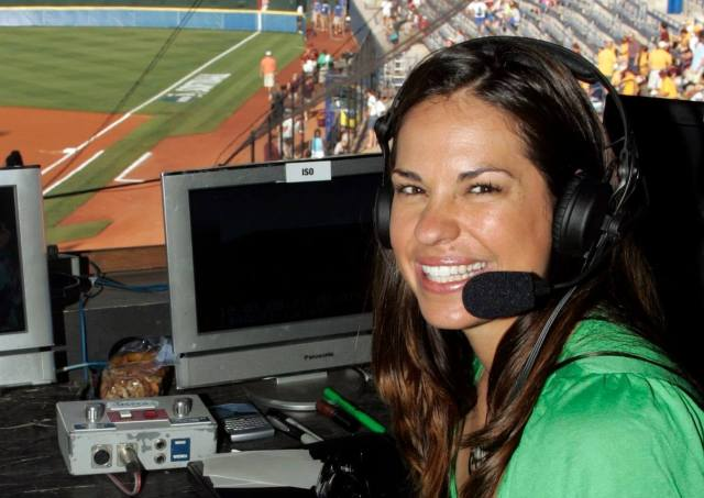 Jessica Mendoza flashes a pearly-white smile before announcing an NCAA softball game from the ESPN booth