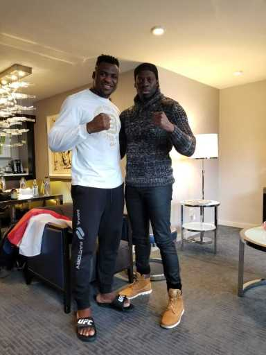 Francis Ngannou with his current best friend Didier Carmont. Didier helped Francis Ngannou back on his feet by getting him off the streets and acquire a home for himself. Didier is also the one who introduced Francis to MMA.